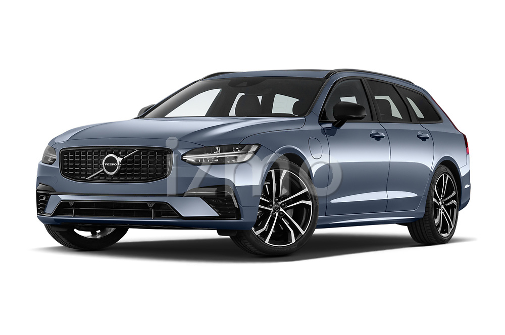 Stock pictures of low aggressive front three quarter view of 2021 Volvo V90-Recharge R-Design 5 Door Wagon Low Aggressive
