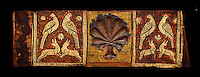 Gothic decorative painted beam panels with doves, hares and a carved syalise tree, Tempera on wood. National Museum of Catalan Art (MNAC), Barcelona, Spain