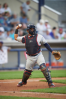 Mahoning Valley Scrappers catcher Jason Rodriguez (20) throws to first base to complete the strikeout in the bottom of the fourth during a game against the Williamsport Crosscutters on July 8, 2017 at BB&T Ballpark at Historic Bowman Field in Williamsport, Pennsylvania.  Williamsport defeated Mahoning Valley 6-1.  (Mike Janes/Four Seam Images)