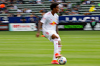 CARSON, CA - APRIL 25: Kyle Duncan  #6 of the New York Red bulls moves with the ball during a game between New York Red Bulls and Los Angeles Galaxy at Dignity Health Sports Park on April 25, 2021 in Carson, California.