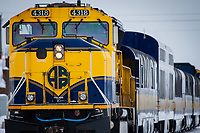 Alaska Railroad locomotive in Anchorage, Alaska.