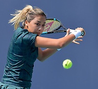 MIAMI GARDENS, FL - MARCH 23: Zarina Diyas seen playing on day 2 of the Miami Open on March 23, 2021 at Hard Rock Stadium in Miami Gardens, Florida. <br /> <br /> <br /> People:  Zarina Diyas