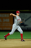 Vancouver Canadians second baseman Tanner Morris (26) throws to first base during a Northwest League game against the Tri-City Dust Devils at Gesa Stadium on August 21, 2019 in Pasco, Washington. Vancouver defeated Tri-City 1-0. (Zachary Lucy/Four Seam Images)