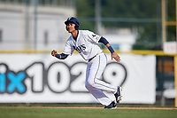 Princeton Rays first baseman Carlos Vargas (25) runs to second base during the first game of a doubleheader against the Johnson City Cardinals on August 17, 2018 at Hunnicutt Field in Princeton, Virginia.  Johnson City defeated Princeton 6-4.  (Mike Janes/Four Seam Images)