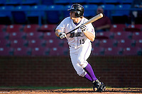 Joe Persichina #15 of the Winston-Salem Dash squares to bunt against the Lynchburg Hillcats at Wake Forest Baseball Stadium August 29, 2009 in Winston-Salem, North Carolina. (Photo by Brian Westerholt / Four Seam Images)