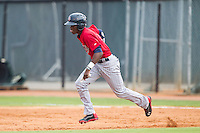 Nick Gordon (9) of the Elizabethton Twins takes off for second base against the Johnson City Cardinals at Cardinal Park on July 27, 2014 in Johnson City, Tennessee.  The game was suspended in the top of the 5th inning with the Twins leading the Cardinals 7-6.  (Brian Westerholt/Four Seam Images)