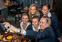 The Hague, The Netherlands, Februari 5, 2020,    Penthouse, FedCup  Netherlands -  Balarus, Official Dinner,  Dutch team making a selfie<br /> Photo: Tennisimages/Henk Koster
