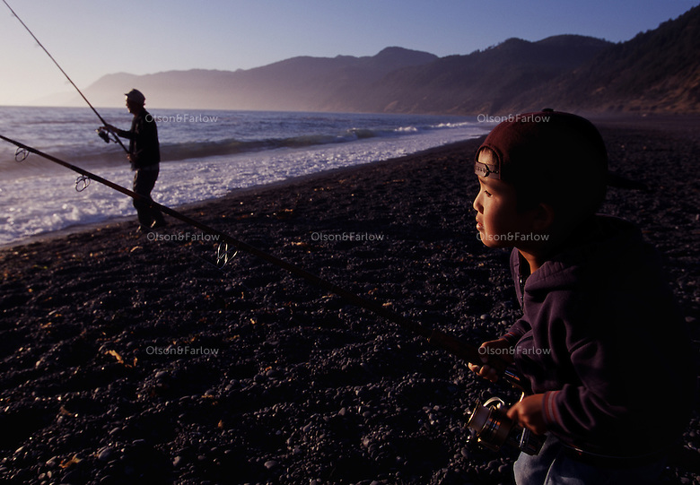 Family tradition of surf casting passes to a new generation on California's Lost Coast on Black Sand Beach in the King Range Conservation Area.