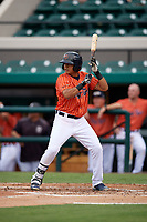 Lakeland Flying Tigers shortstop David Gonzalez (1) at bat during the second game of a doubleheader against the St. Lucie Mets on June 10, 2017 at Joker Marchant Stadium in Lakeland, Florida.  Lakeland defeated St. Lucie 9-1.  (Mike Janes/Four Seam Images)