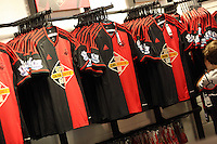 Pictured: A collection of the new away kit shirts. Saturday 21 June 2014<br /> Re: Launch of the new home and away kit for Swansea City Football Club at the Liberty Stadium, south Wales.