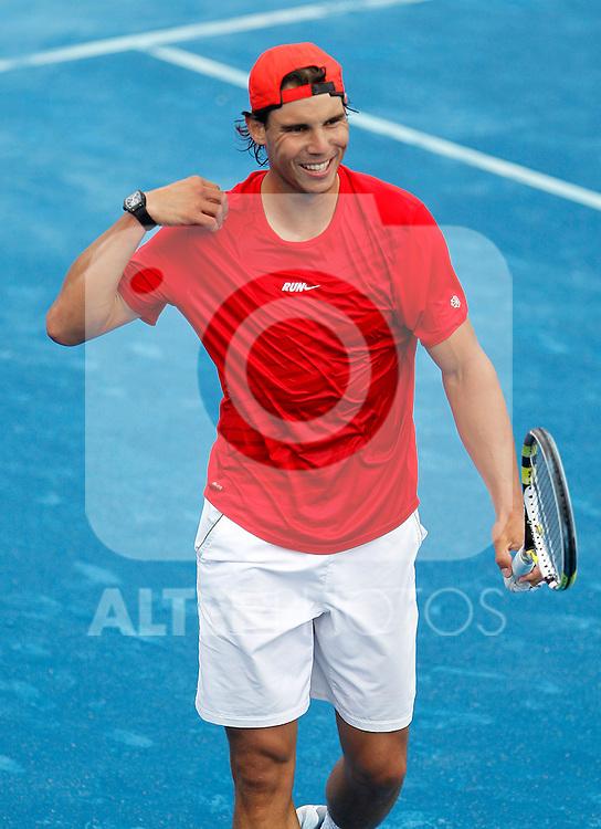 Rafael Nadal in trainig session during Madrid Open Tennis 2012 Match.May, 8, 2012(ALTERPHOTOS/ALFAQUI/Acero)