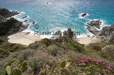 """Italy, Calabria, near Tropea: coastline and small beaches """"Le Spiaggette"""" at Capo Vaticano"""