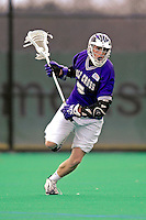 10 April 2007: Holy Cross Crusaders' Kenny Minor, a Freshman from South Hadley, MA, in action against the University of Vermont Catamounts at Moulton Winder Field, in Burlington, Vermont. The Crusaders rallied to defeat the Catamounts 5-4...Mandatory Photo Credit: Ed Wolfstein Photo