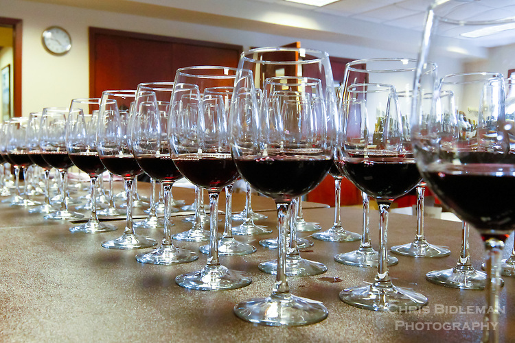 Rows of glasses filled with red wine are ready for judging at the Savor NW 2014 wine awards, Cannon Beach, OR