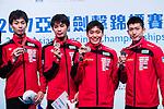(L-R) Satoru Uyama, Masaru Yamada, Inochi Ito and Kazuyasu Minobe of Japan pose for photos with their bronze medals during the Asian Fencing Championships 2017 on June 19, 2017 in Hong Kong, China. Photo by Marcio Rodrigo Machado / Power Sport Images