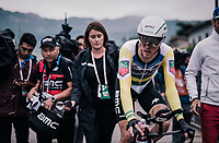 Rohan Dennis (AUS/BMC) crossing the finish line victoriously (winning the stage)<br /> <br /> stage 16: Trento – Rovereto iTT (34.2 km)<br /> 101th Giro d'Italia 2018