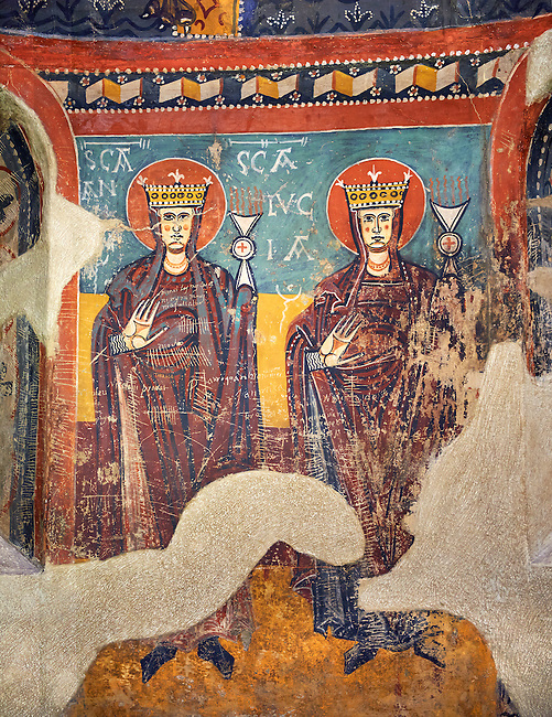 Twelfth Century Romanesque frescoes of the Apse d'Estaon. The church of Santa Eulalia d'Estaon, Vall de Cardos, Pollars Sobira, Spain. National Art Museum of Catalonia, Barcelona. MNAC 15969