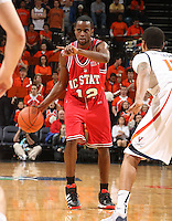 NC State's Farnold Degand_Virginia held North Carolina State scoreless for more than 7 minutes on the way to a 59-47 victory Wednesday night at the John Paul Jones Arena in Charlottesville, VA. Virginia (14-6, 5-2 Atlantic Coast Conference) regained a share of first place in the conference. (Photo/Andrew Shurtleff)....