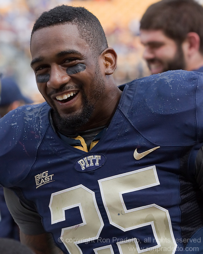 Pitt safety Jason Hendricks celebrates the win. The Pitt Panthers defeated the Virginia Tech Hokies 35-17 at Heinz field in Pittsburgh, PA on September 15, 2012.