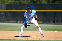 Jackson Lueck (34) of the Burlington Royals takes his lead off of first base against the Greeneville Reds at Burlington Athletic Stadium on July 8, 2018 in Burlington, North Carolina. The Royals defeated the Reds 4-2.  (Brian Westerholt/Four Seam Images)