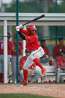 Philadelphia Phillies Malvin Matos (39) during a minor league Spring Training game against the Pittsburgh Pirates on March 13, 2019 at Pirate City in Bradenton, Florida.  (Mike Janes/Four Seam Images)