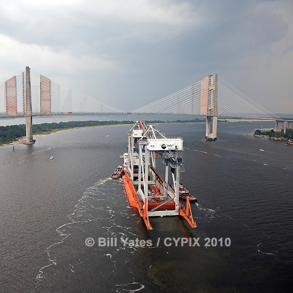 Dock Express 10 Dockwise TraPac Cranes TraPac Container Terminal .Dames Point Bridge JaxPort helicopter aerial in rain