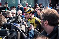 Wout Van Aert (BEL/Jumbo Visma) post race interviewed. <br /> <br /> 82nd Gent – Wevelgem in Flanders Fields 2019 (1.UWT)<br /> Deinze – Wevelgem: 251,5km<br /> ©kramon