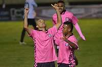 TUNJA -COLOMBIA-26-ABRIL-2016. Edwards Jimenez de Boyacá Chico celebra su gol contra el  Envigado FC  durante partido por la fecha 15 de Liga Águila I 2016 jugado en el estadio La Independencia./ Edwards Jimenez of Boyacá Chico celebrates his goal against of  Envigado FC during the match for the date 15 of the Aguila League I 2016 played at La Independencia stadium in Tunja. Photo: VizzorImage / César Melgarejo  / Contribuidor