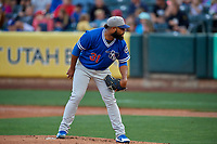Oklahoma City Dodgers starting pitcher Daniel Corcino (31) looks home during the game against the Salt Lake Bees at Smith's Ballpark on July 31, 2019 in Salt Lake City, Utah. The Dodgers defeated the Bees 5-3. (Stephen Smith/Four Seam Images)