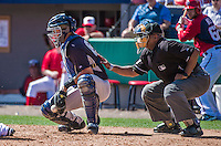 11 March 2014: New York Yankees catcher Gary Sanchez in action during a Spring Training game against the Washington Nationals at Space Coast Stadium in Viera, Florida. The Nationals defeated the Yankees 3-2 in Grapefruit League play. Mandatory Credit: Ed Wolfstein Photo *** RAW (NEF) Image File Available ***