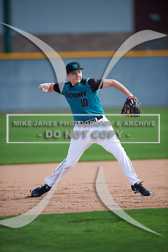 Max Gordon (10) of Warren de La Salle High School in Washington Township, Michigan during the Under Armour All-American Pre-Season Tournament presented by Baseball Factory on January 14, 2017 at Sloan Park in Mesa, Arizona.  (Mike Janes/Mike Janes Photography)