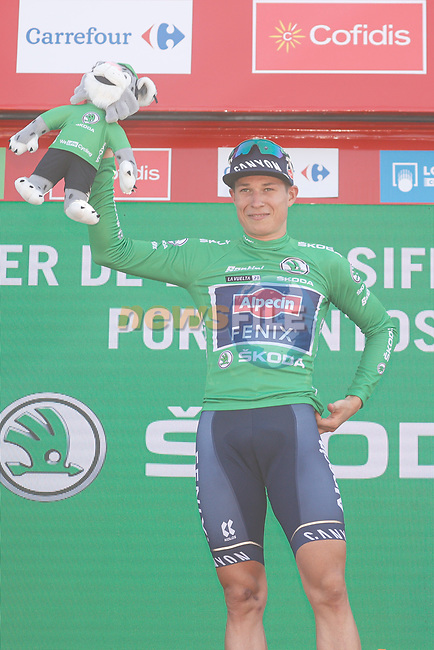 Jasper Philipsen (BEL) Alpecin-Fenix retains the points Green Jersey at the end of Stage 6 of La Vuelta d'Espana 2021, running 158.3km from Requena to Alto de la Montaña Cullera, Spain. 19th August 2021.    <br /> Picture: Luis Angel Gomez/Photogomezsport | Cyclefile<br /> <br /> All photos usage must carry mandatory copyright credit (© Cyclefile | Luis Angel Gomez/Photogomezsport)