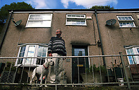 Pictured: Home owner John Emery. Thursday 31 August 2017<br /> Re: Home owners and tennants have been served to evacuation orders by Neath Port Talbot County Council over fears that a landslip has made their houses unsafe in Cyfyng Road, Ystalyfera, Wales, UK.