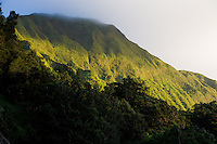 This was taken on the Honolulu side of the Pali Lookout as the sun was setting.  The peaks of the ridge were constantly bathed in clouds.<br /> <br /> Canon EOS 5D, 24-105L lens