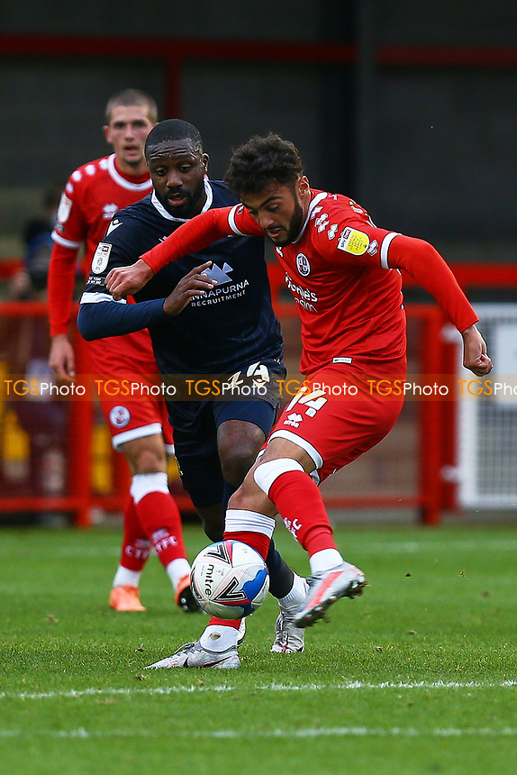 Tarryn Allarakhia of Crawley Town and Alex Kenyon of Morecambe during Crawley Town vs Morecambe, Sky Bet EFL League 2 Football at Broadfield Stadium on 17th October 2020