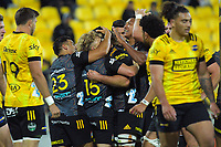The Chiefs celebrate Luke Jacobson's try during the Super Rugby Aotearoa match between the Hurricanes and Chiefs at Sky Stadium in Wellington, New Zealand on Saturday, 20 March 2020. Photo: Dave Lintott / lintottphoto.co.nz