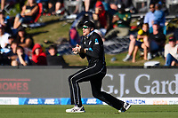 23rd March 2021; Christchurch, New Zealand;  Martin Guptill of the Black Caps catches out Mahmud Ullah off the bowling of Kyle Jamieson of the Black Caps during the 2nd ODI cricket match, Black Caps versus Bangladesh, Hagley Oval, Christchurch, New Zealand.