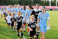 Heather O'Reilly (9) of Sky Blue FC leads the team onto the field. Sky Blue FC defeated the Philadelphia Independence 2-0 during a Women's Professional Soccer (WPS) match at Yurcak Field in Piscataway, NJ, on July 23, 2011.