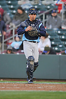 Colorado Springs Sky Sox catcher Jacob Nottingham (27) in action against the Omaha Storm Chasers at Werner Park on April 5, 2018 in Omaha, Nebraska. The Sky Sox won 3-1.  (Dennis Hubbard/Four Seam Images)