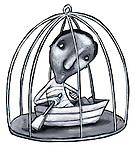 Illustrative image of man with boat in cage representing bondage