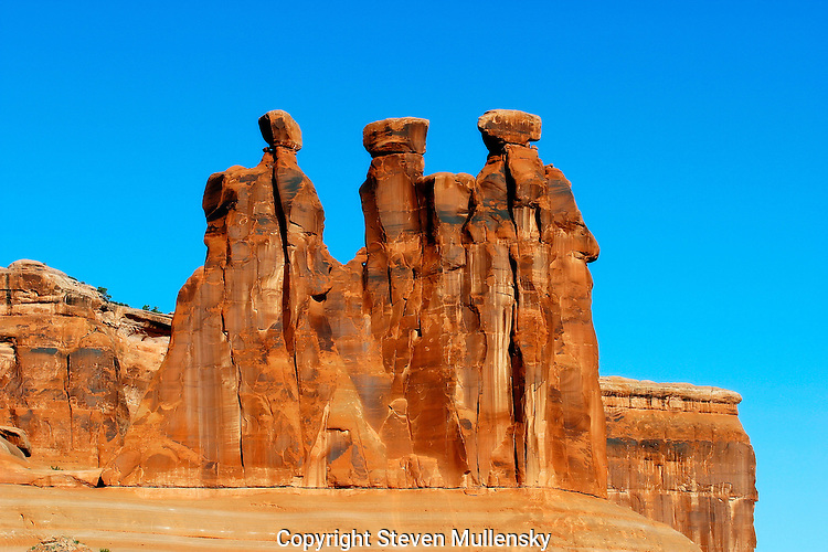 The Three Sisters are a eroded rock formation in the Arches National Park near Moab, Utah.