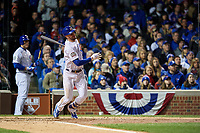 Chicago Cubs Kris Bryant (17) hits a home run in the fourth inning during Game 5 of the Major League Baseball World Series against the Cleveland Indians on October 30, 2016 at Wrigley Field in Chicago, Illinois.  (Mike Janes/Four Seam Images)