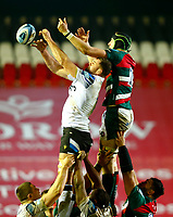 3rd January 2021; Welford Road Stadium, Leicester, Midlands, England; Premiership Rugby, Leicester Tigers versus Bath Rugby; Cameron Henderson of Leicester Tigers and Elliott Stooke of Bath Rugby compete for a line out