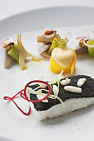Europe/France/Bretagne/29/Finistère/Carantec: Barbue en croute de pain noir, artichaut du Léon, mousseline au safran en copeaux de carottes jaunes - Recette de Patrick Jeffroy  -  Restaurant: Patrick Jeffroy - Hôtel de Carantec
