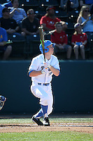 Brett Stephens (9) of the UCLA Bruins bats against the North Carolina Tar Heels at Jackie Robinson Stadium on February 20, 2016 in Los Angeles, California. UCLA defeated North Carolina, 6-5. (Larry Goren/Four Seam Images)