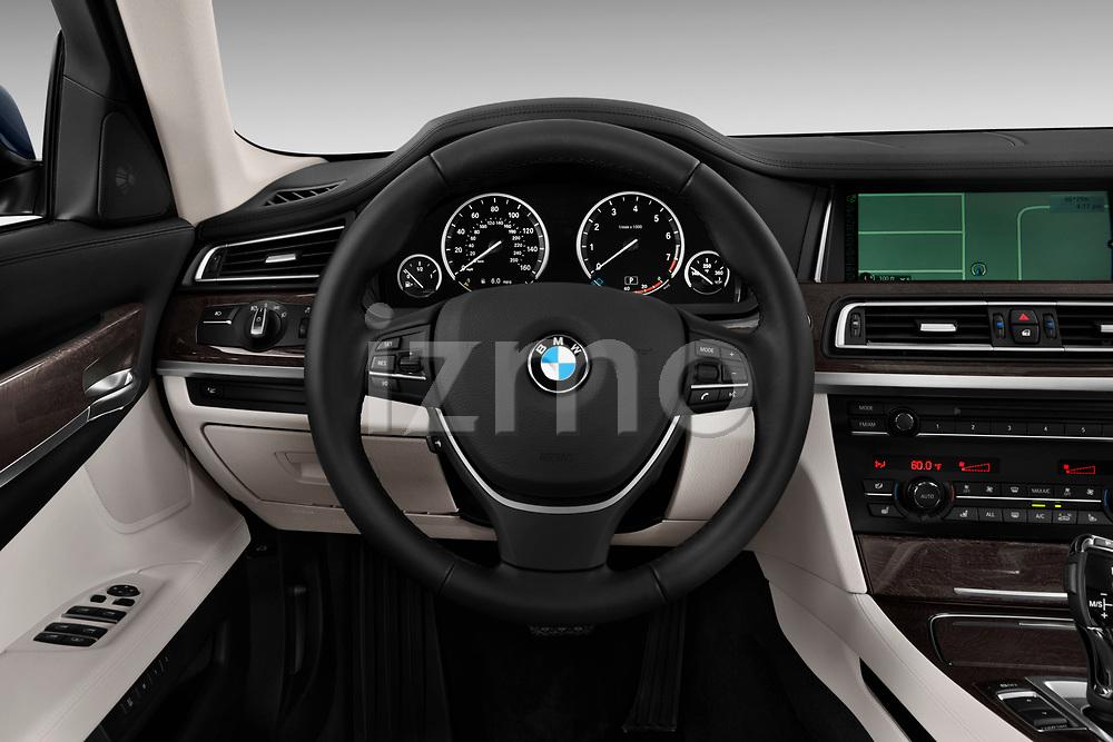 Steering wheel view of a 2013 BMW 7-Series 750i sedan