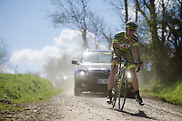 A rider of the 'Armée de Terre'  Team unclips as a precaution on a tricky gravel descent.<br /> This continental team is sponsored by the French Army (ground troupes) and all the cyclists are professional soldiers. <br /> <br /> 33th Tro Bro Léon 2016