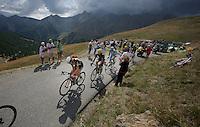 Serge Pauwels (BEL/MTN-Qhubeka) just received a water bottle up the Col d'Allos (1C/2250m/14km/5.5%)<br /> <br /> stage 17: Digne-les-Bains - Pra Loup (161km)<br /> 2015 Tour de France