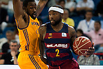 Herbalife Gran Canaria's player Bo McCalebb and FC Barcelona Lassa player Tyrese Rice during the final of Supercopa of Liga Endesa Madrid. September 24, Spain. 2016. (ALTERPHOTOS/BorjaB.Hojas)