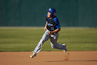 Jacob Marcos (12) of the Barton Bulldogs hustles towards third base against the Queens Royals at Intimidators Stadium on March 19, 2019 in Kannapolis, North Carolina. The Royals defeated the Bulldogs 6-5. (Brian Westerholt/Four Seam Images)